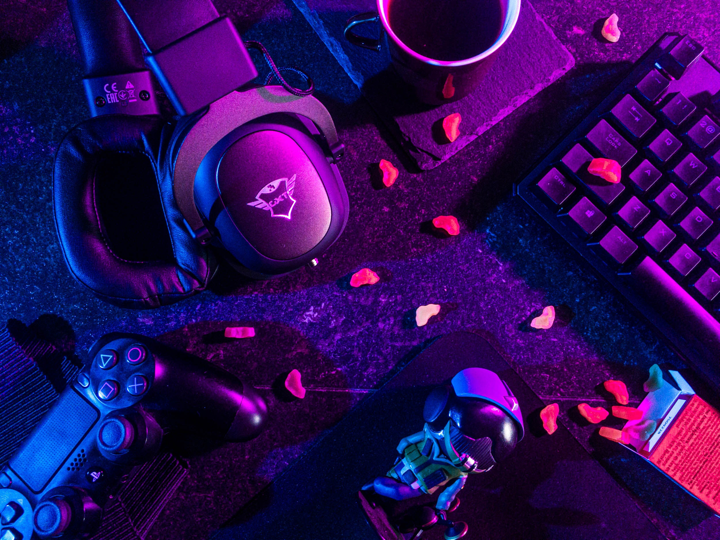 gaming equipment on table