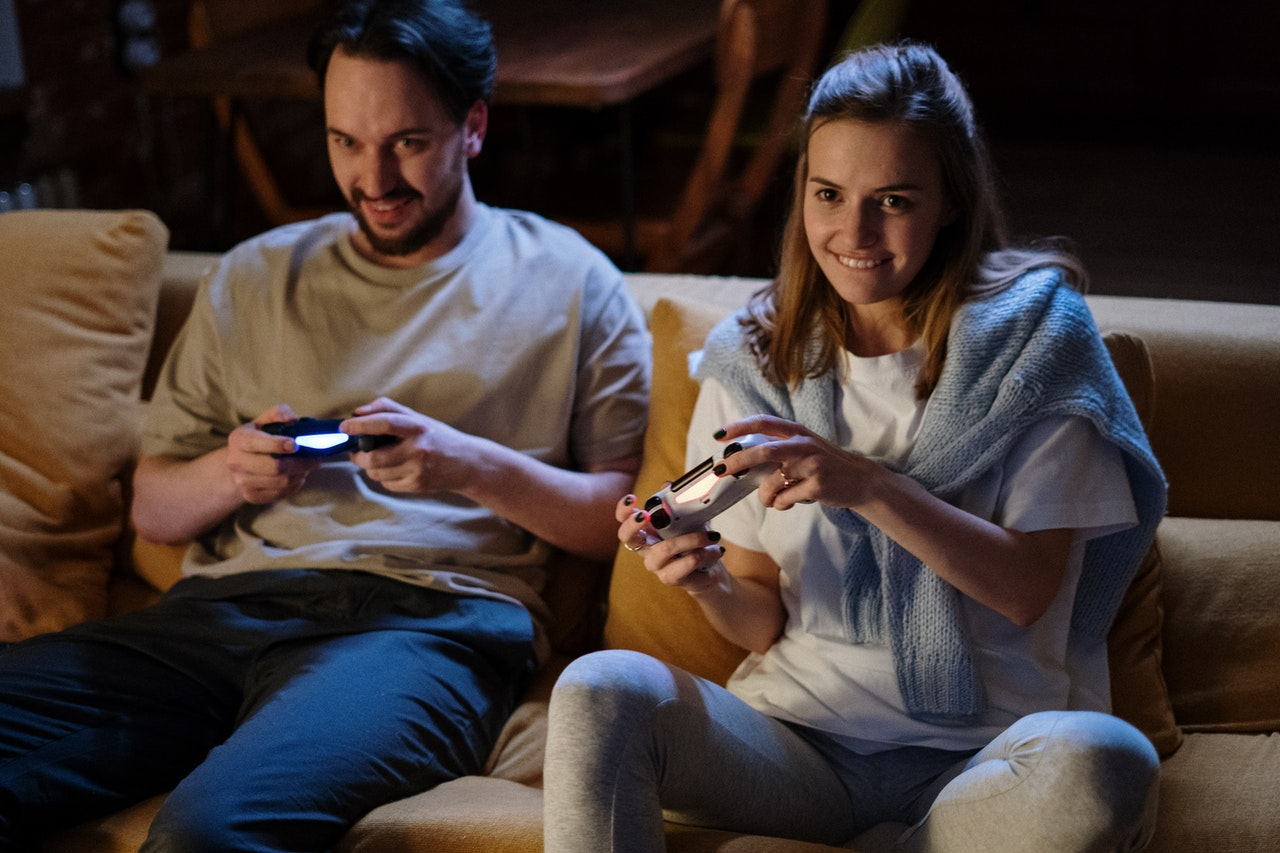 a couple playing a simulation game