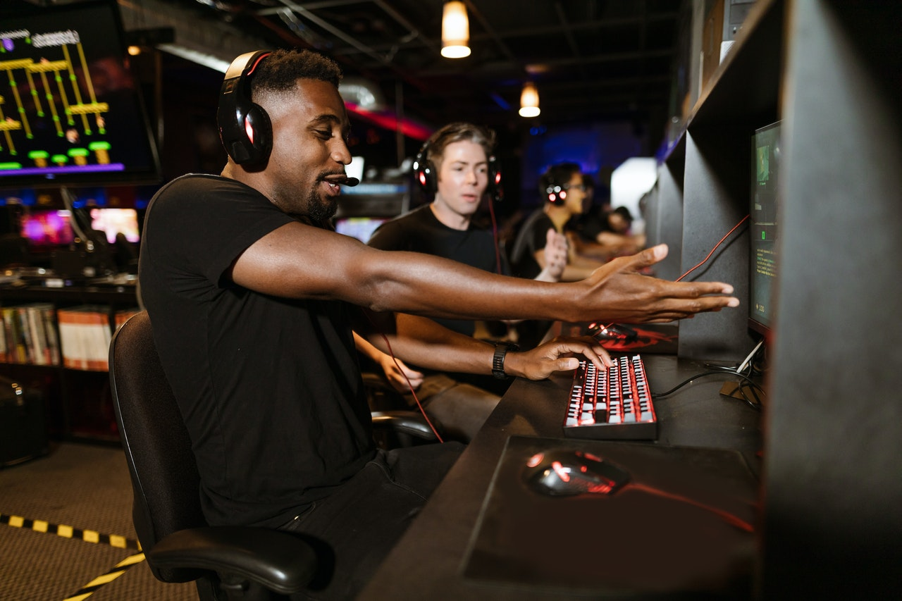 guys playing a video game